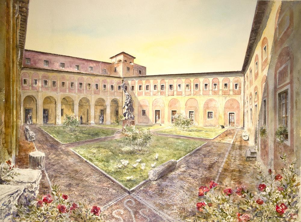 Altre opere e soggetti degli acquerelli di Giampiero Pierini, chiostro rinascimentale a Subiaco