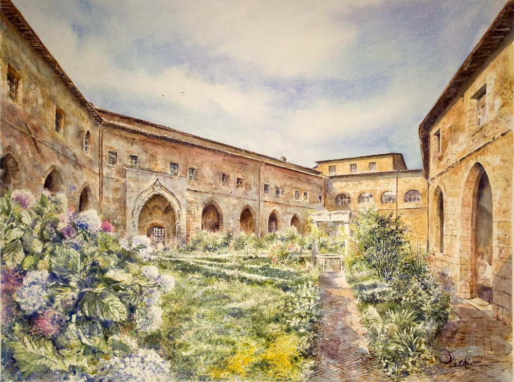 Altre opere e soggetti degli acquerelli di Giampiero Pierini, monastero di Santa Scolastica a Subiaco