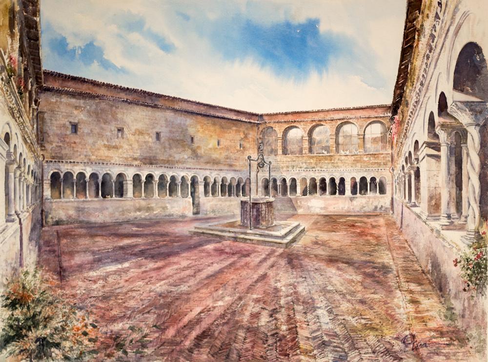 Altre opere e soggetti degli acquerelli di Giampiero Pierini, chiostro rinascimentale a Subiaco di Santa Scolastica