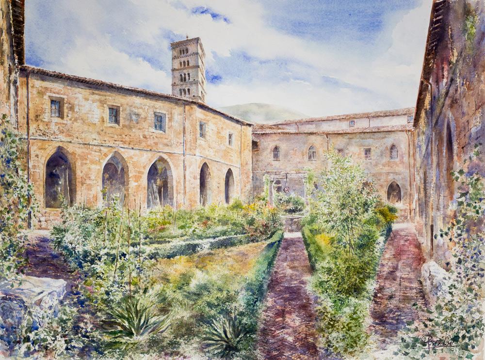 Altre opere e soggetti degli acquerelli di Giampiero Pierini, chiostro di Santa Scolastica monastero a Subiaco