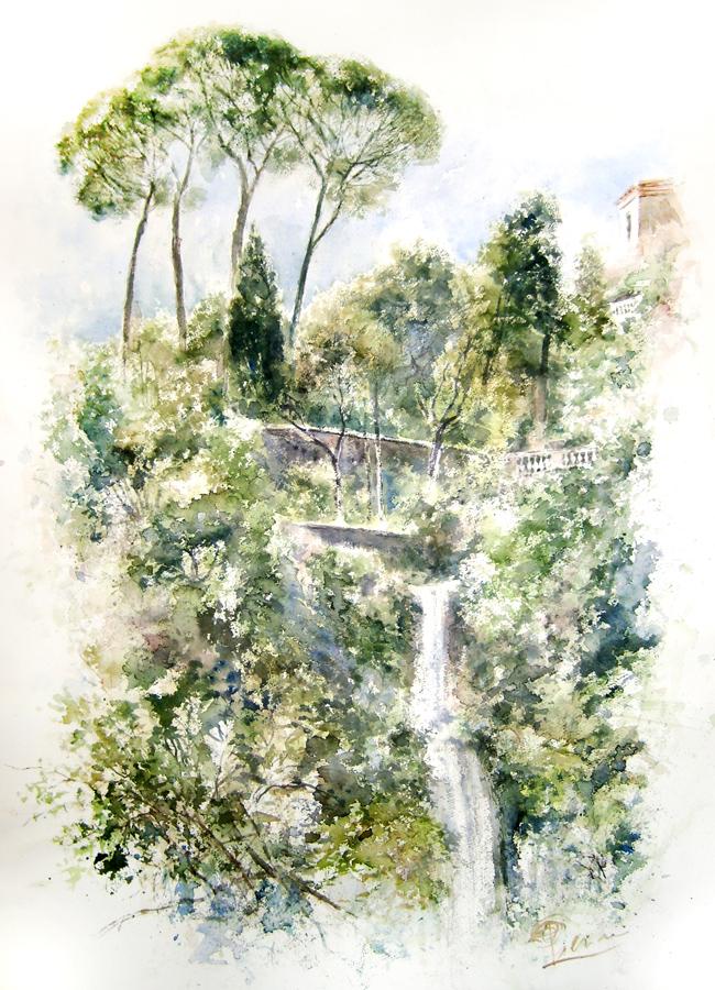 Altre opere e soggetti degli acquerelli di Giampiero Pierini, estemporanea di villa Gregoriana
