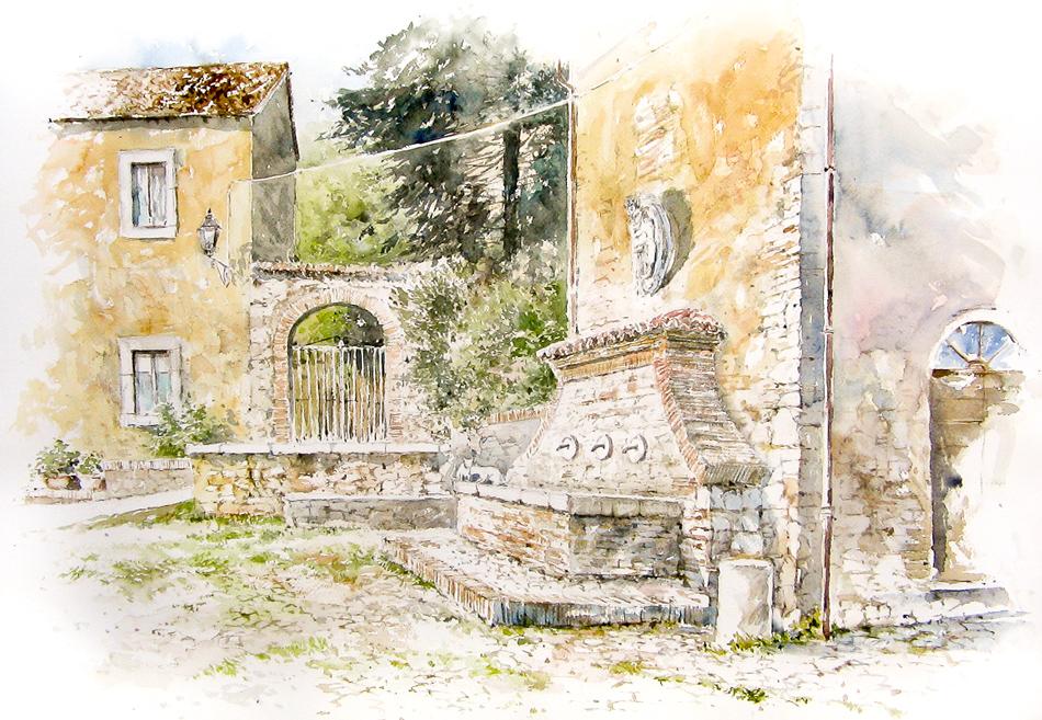 Altre opere e soggetti degli acquerelli di Giampiero Pierini, Farfa