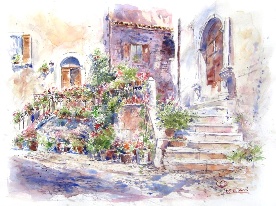 Altre opere e soggetti degli acquerelli di Giampiero Pierini, estemporanea a Visso