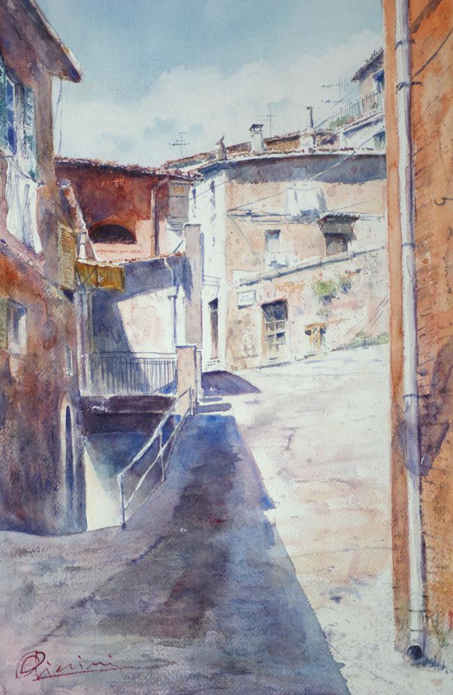 Altre opere e soggetti degli acquerelli di Giampiero Pierini, vicoli
