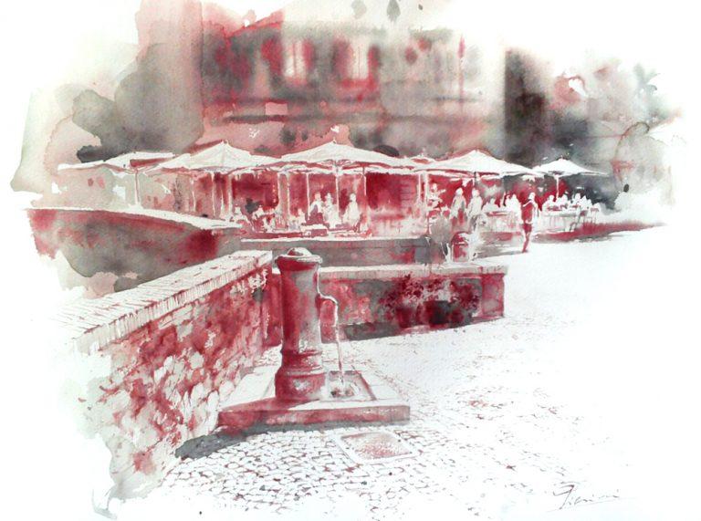Acquerelli e vinarelli di Giampiero Pierini, fontana di paese