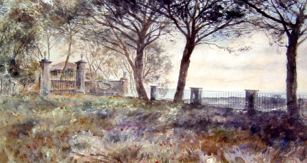Altre opere e soggetti degli acquerelli di Giampiero Pierini, villa ai Castelli romani