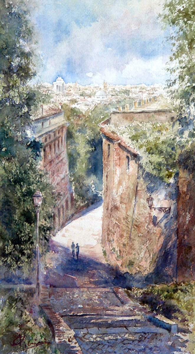Roma e la campagna romana degli acquerelli di Giampiero Pierini, verso il Gianicolo