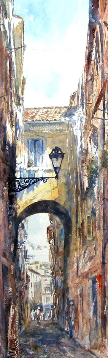 Roma e la campagna romana degli acquerelli di Giampiero Pierini, arco dei Cappellari