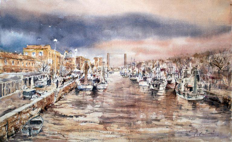 Altre opere e soggetti degli acquerelli di Giampiero Pierini, il canale di Fiumicino
