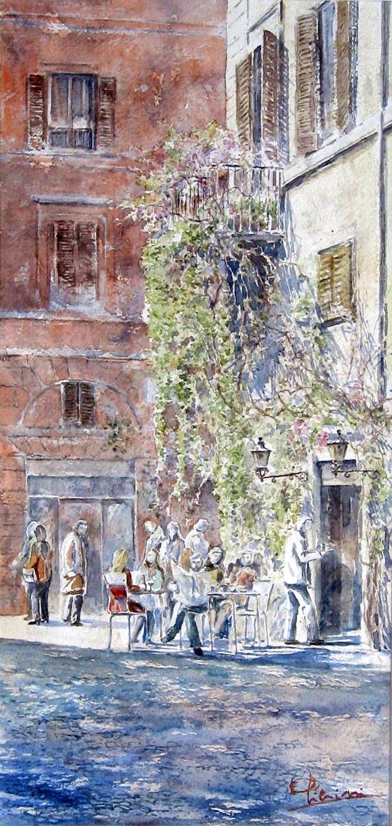 Roma e la campagna romana degli acquerelli di Giampiero Pierini, bar della pace