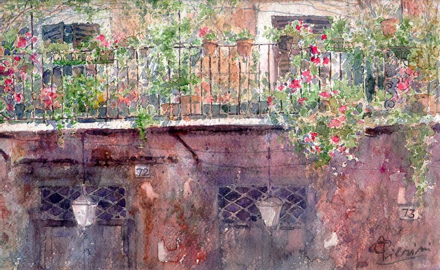 Roma e la campagna romana degli acquerelli di Giampiero Pierini, balconcino di Piazza Navona
