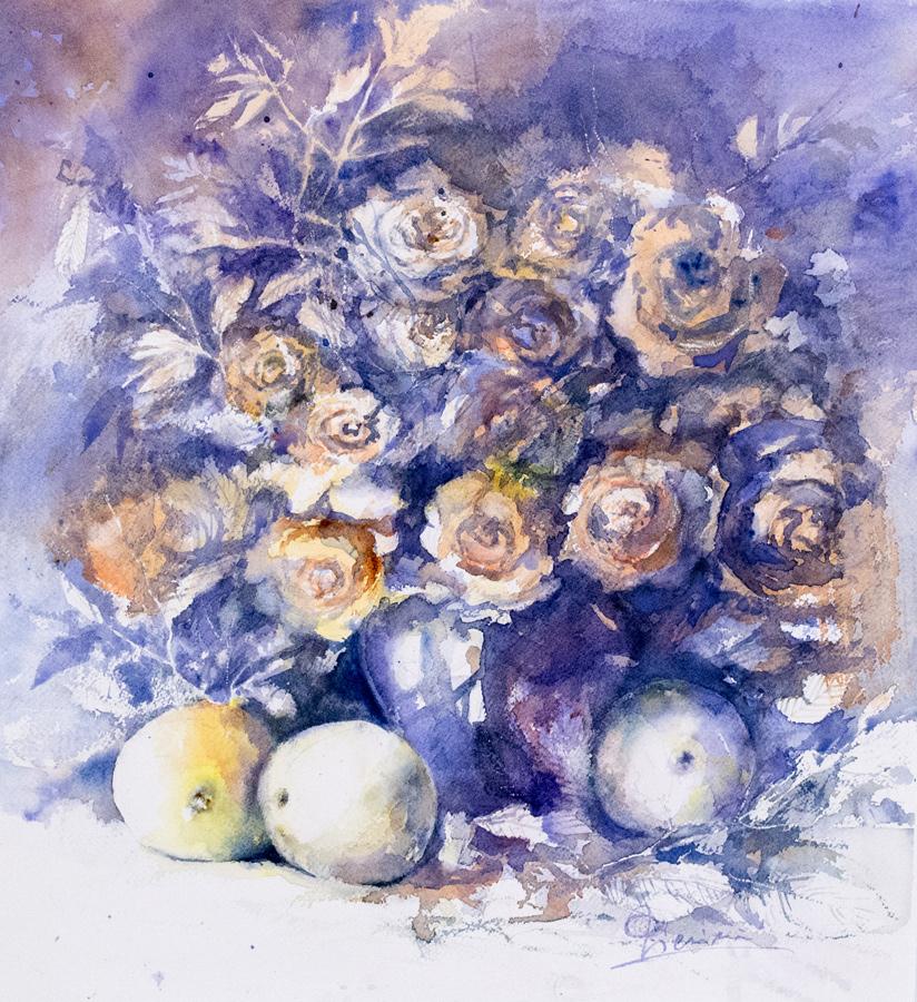 Le composizioni degli acquerelli di Giampiero Pierini, natura morta