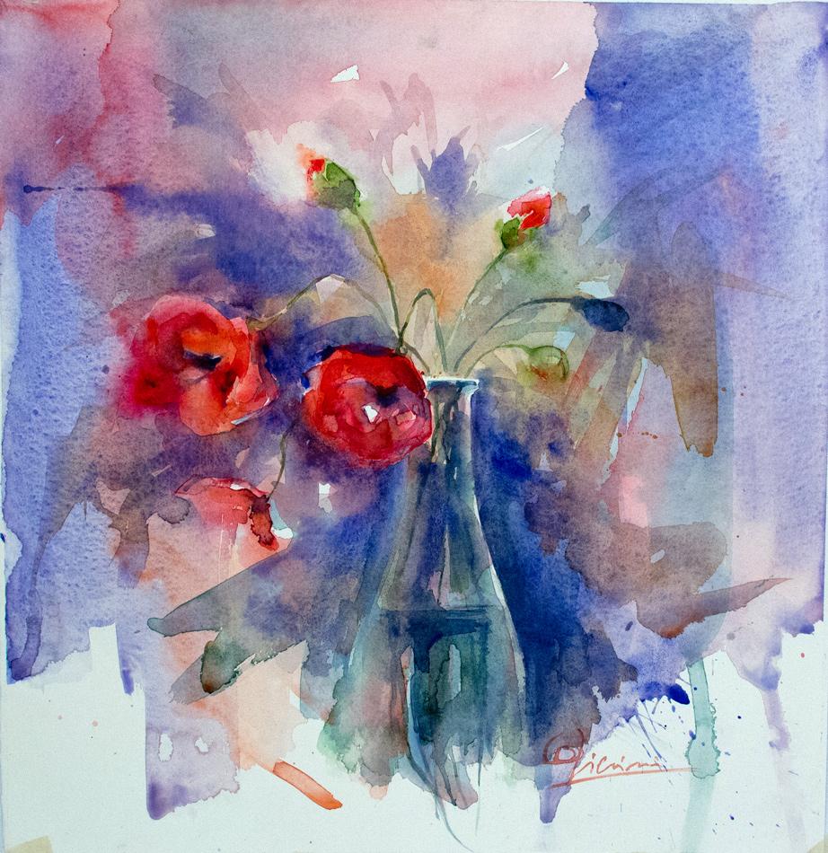 Le composizioni degli acquerelli di Giampiero Pierini, bottiglia con fiori