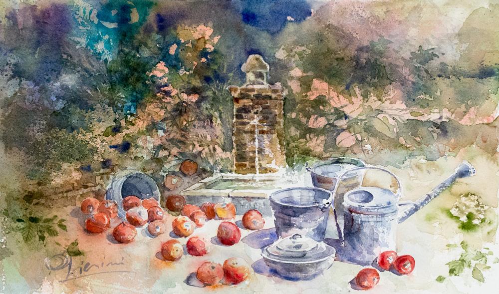 Le composizioni degli acquerelli di Giampiero Pierini, fontana con melograni