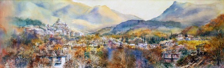 I paesaggi degli acquerelli di Giampiero Pierini, la valle di Subiaco