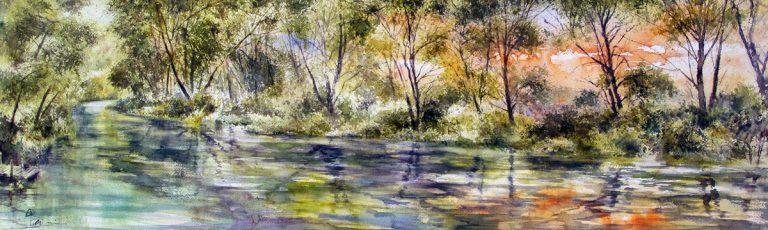 I paesaggi degli acquerelli di Giampiero Pierini, il fiume Aniene