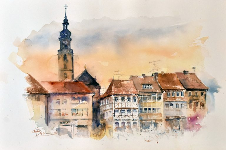 Altre opere e soggetti degli acquerelli di Giampiero Pierini, città germanica