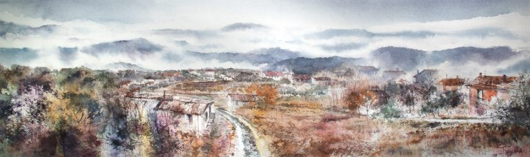 I paesaggi degli acquerelli di Giampiero Pierini, la valle dell'Aniene