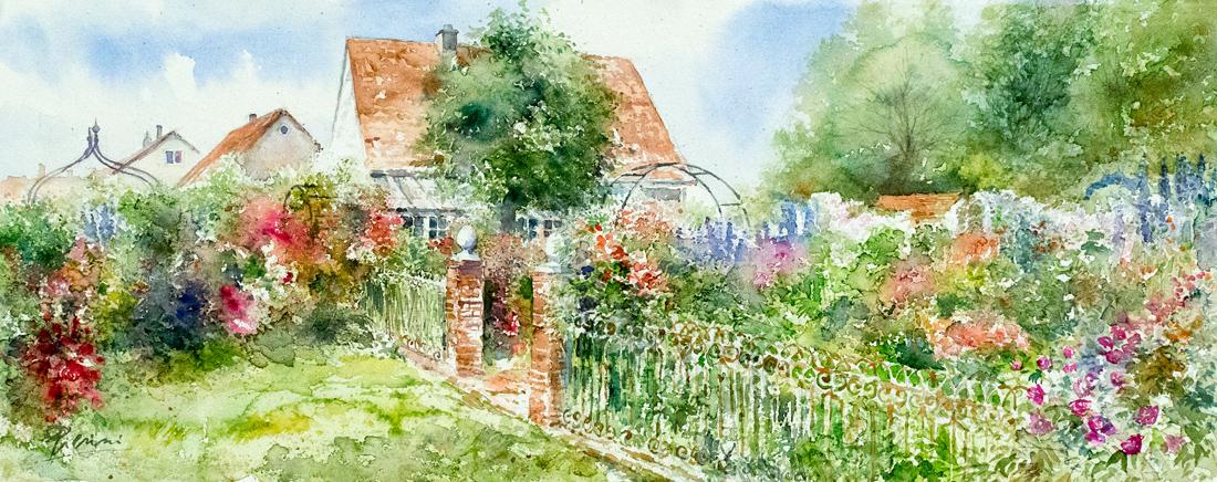 Altre opere e soggetti degli acquerelli di Giampiero Pierini, giardino fiorito