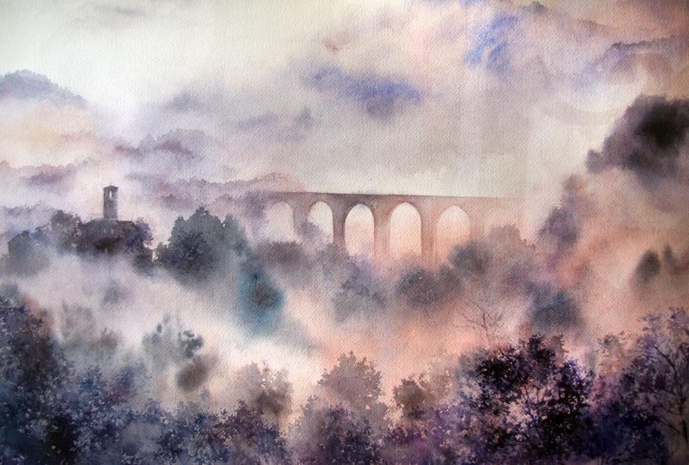 I paesaggi degli acquerelli di Giampiero Pierini, colli brumosi