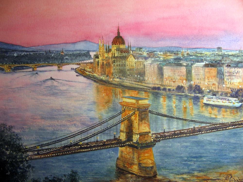 I paesaggi degli acquerelli di Giampiero Pierini, tramonto sul Danubio a Budapest