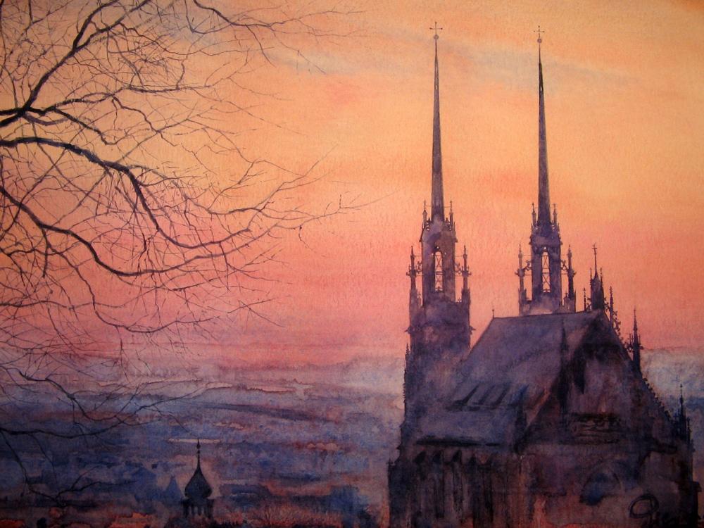 I paesaggi degli acquerelli di Giampiero Pierini, la cattedrale di Ckslov