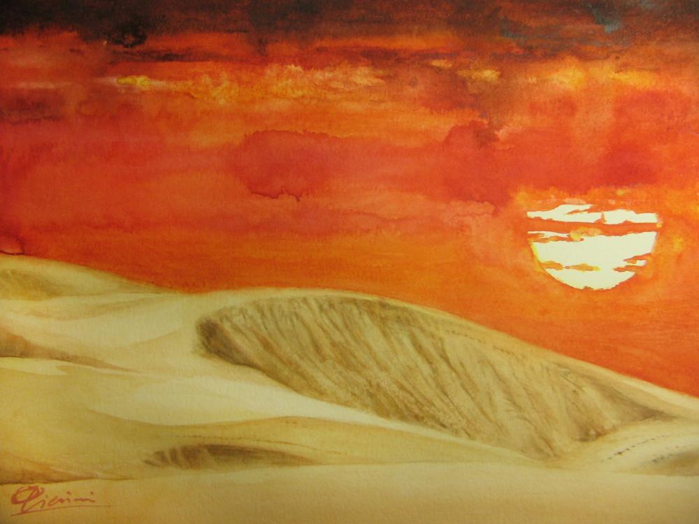 I paesaggi degli acquerelli di Giampiero Pierini, il deserto del Kazakistan