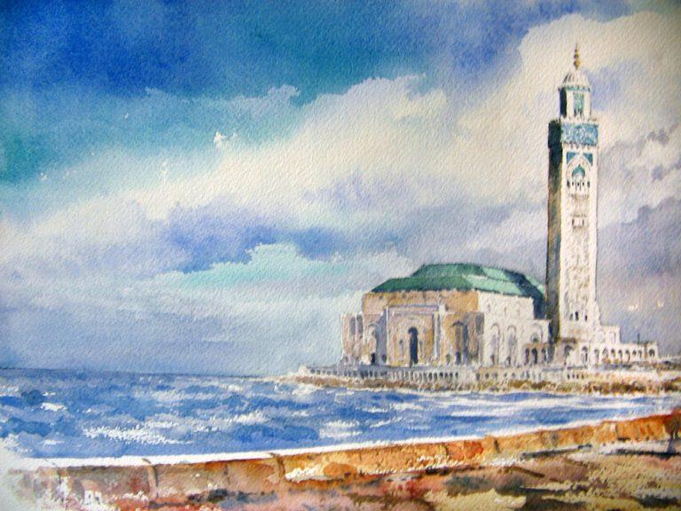 I paesaggi degli acquerelli di Giampiero Pierini, moschea sul mare