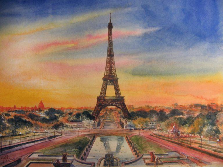 I paesaggi degli acquerelli di Giampiero Pierini, estate a Parigi