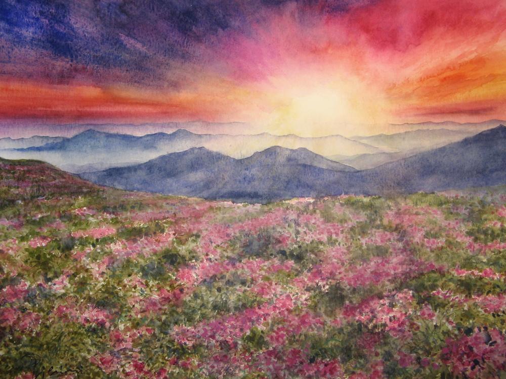 I paesaggi degli acquerelli di Giampiero Pierini, i monti Carpazi in Ukraina