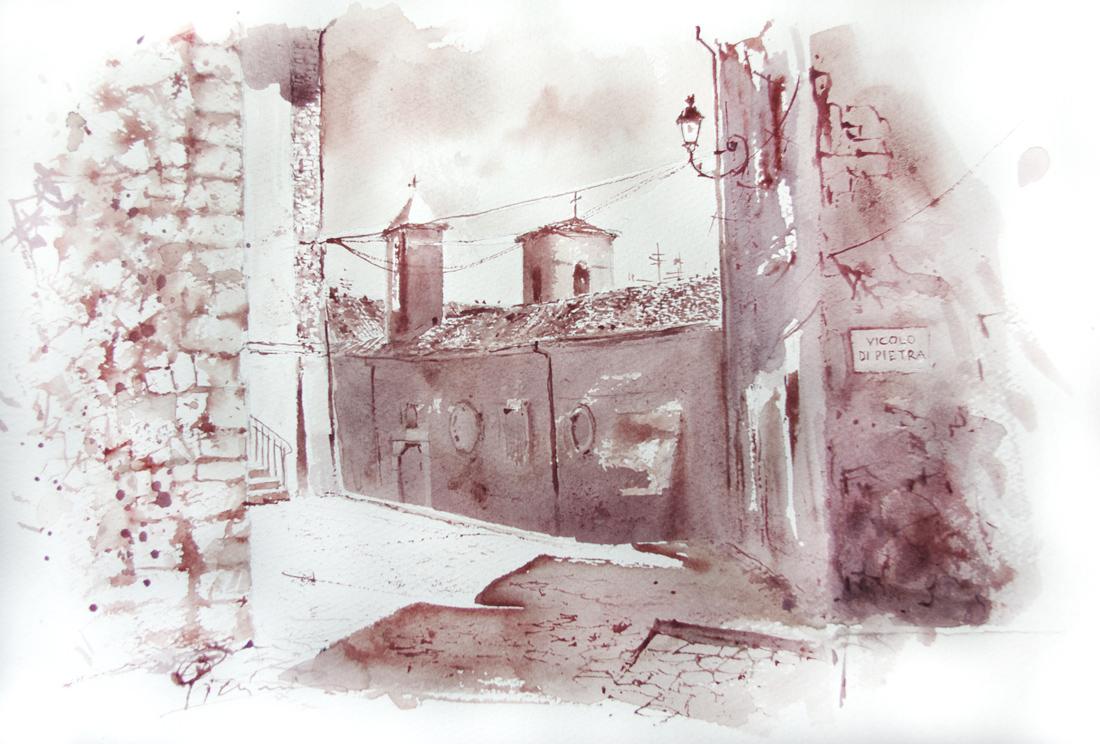 Acquerelli e vinarelli di Giampiero Pierini, vicolo di pietra
