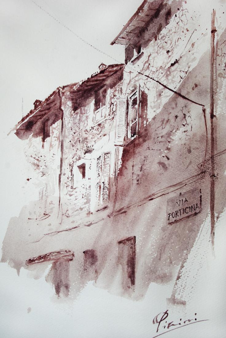 Acquerelli e vinarelli di Giampiero Pierini, la via porticina