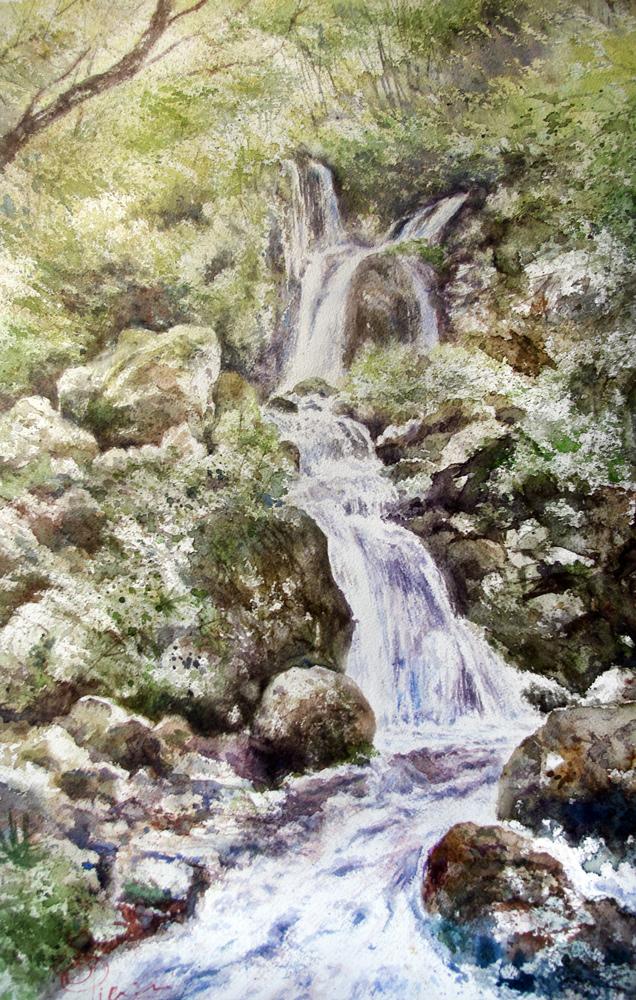 I paesaggi degli acquerelli di Giampiero Pierini, le cascate del rio scuro