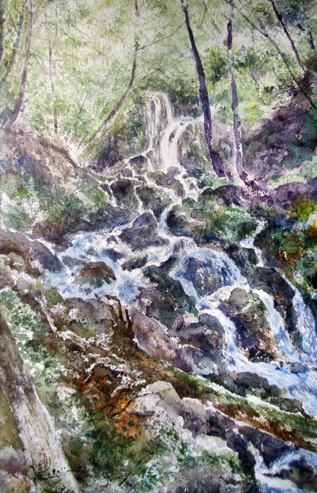 I paesaggi degli acquerelli di Giampiero Pierini, il rio scuro
