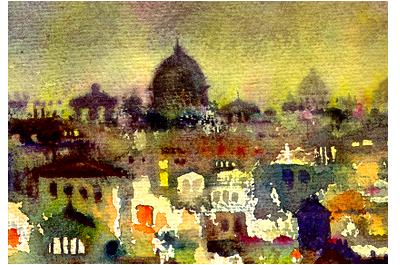 Roma e campagne romane delle opere di Giampiero Pierini acquerelli