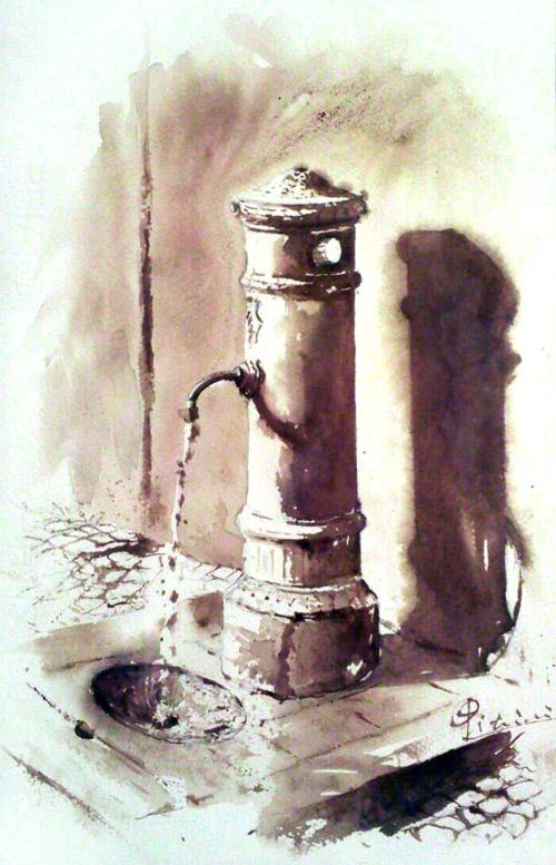 Acquerelli e vinarelli di Giampiero Pierini, fontanella romana