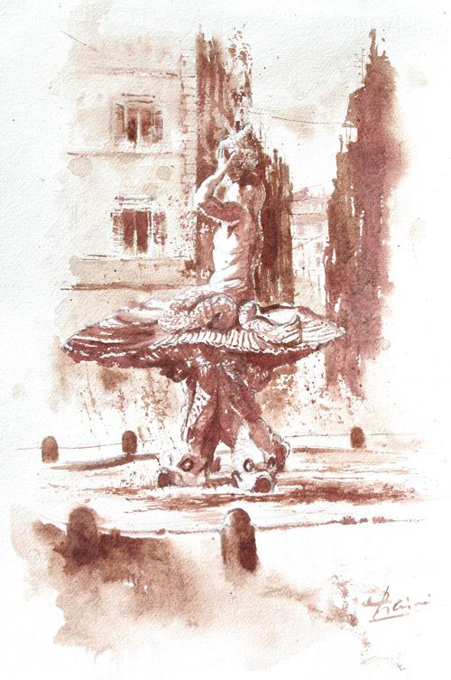 Acquerelli e vinarelli di Giampiero Pierini, fontana di piazza