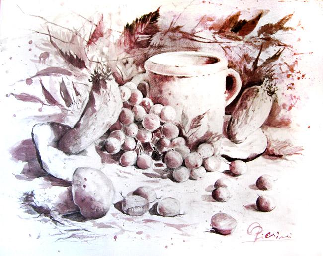 Acquerelli e vinarelli di Giampiero Pierini, particolari d'autunno