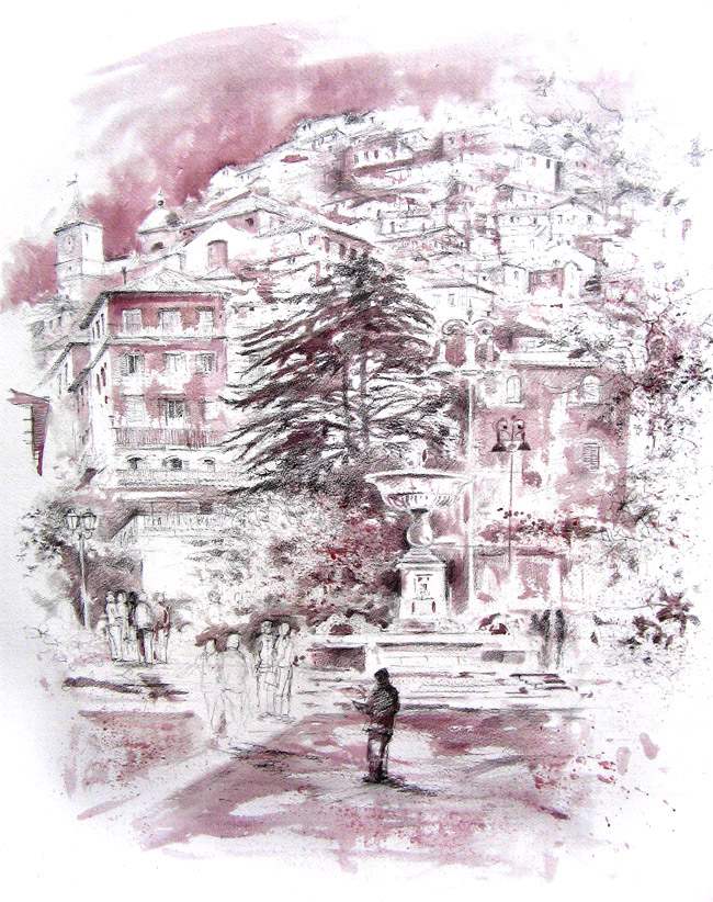 Acquerelli e vinarelli di Giampiero Pierini, Rocca di Papa, particolare vino e matita