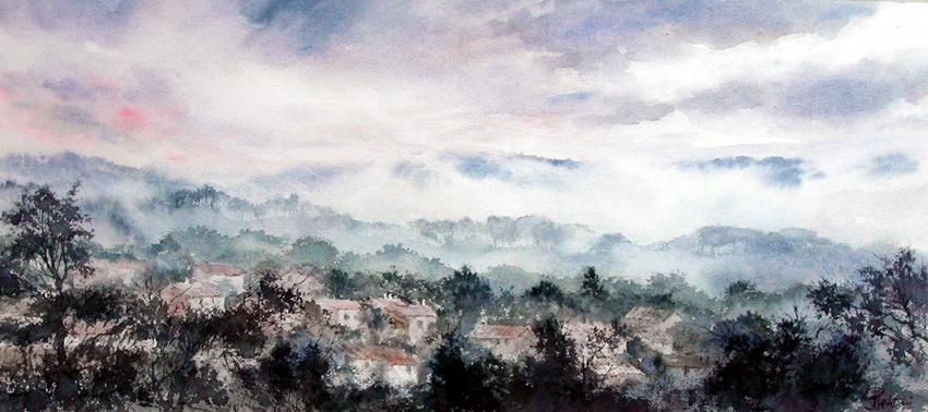 I paesaggi degli acquerelli di Giampiero Pierini, Mattino fra i boschi