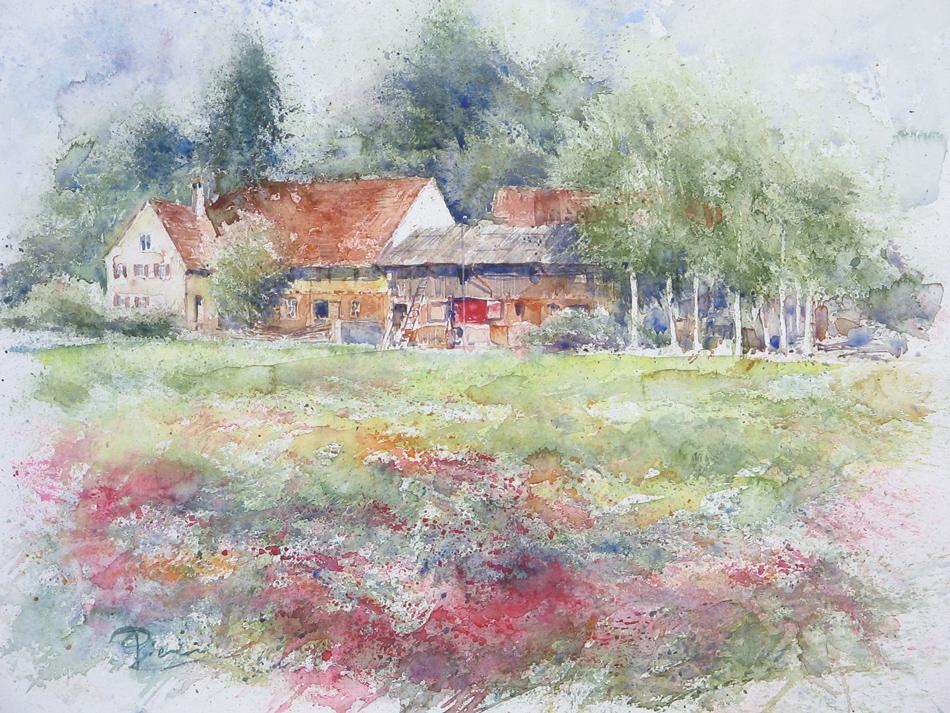 I paesaggi degli acquerelli di Giampiero Pierini, La fattoria delle betulle