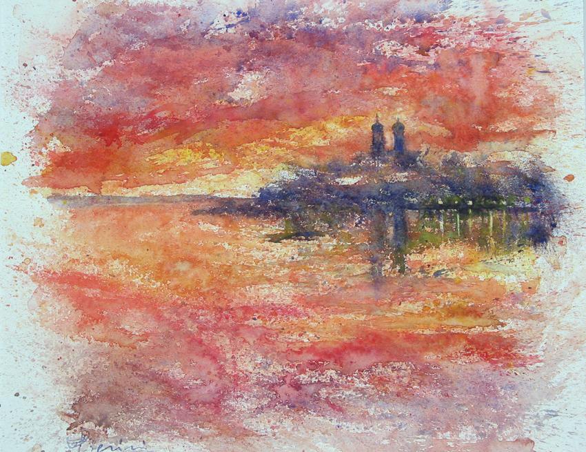 I paesaggi degli acquerelli di Giampiero Pierini, Tramonto sul lago
