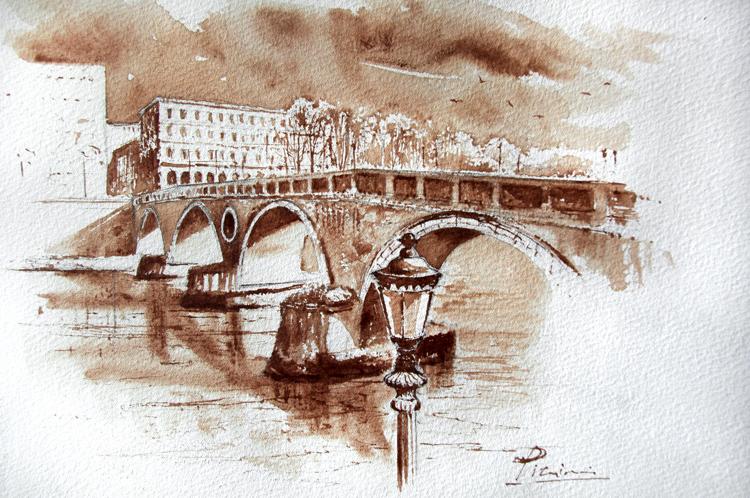 Acquerelli e vinarelli di Giampiero Pierini, veduta dal ponte sul fiume