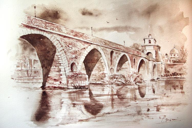 Acquerelli e vinarelli di Giampiero Pierini, panorama e veduta di un ponte sul fiume