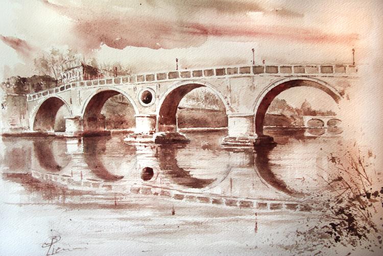 Acquerelli e vinarelli di Giampiero Pierini, riflesso di un ponte sul fiume