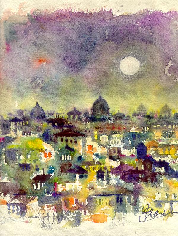 Roma e la campagna romana degli acquerelli di Giampiero Pierini, paesaggio notturno