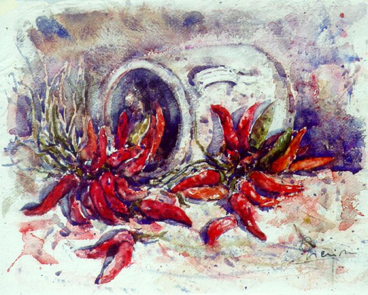 Le composizioni degli acquerelli di Giampiero Pierini, Brocca con peperoncini