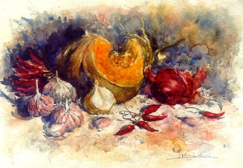 Le composizioni degli acquerelli di Giampiero Pierini, Zucca con cipolle