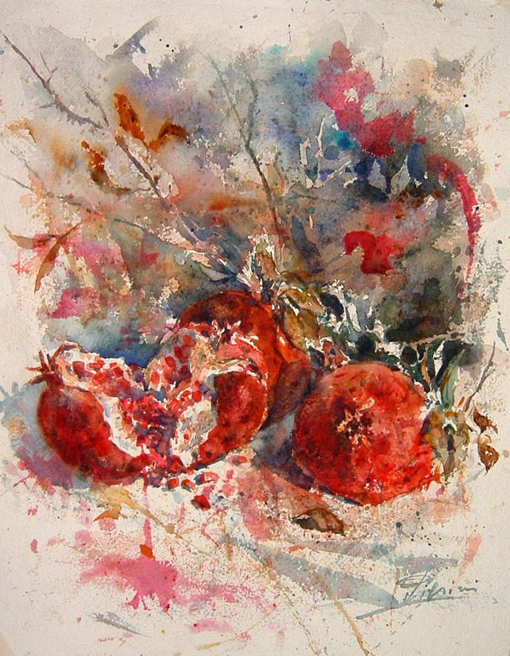 Le composizioni degli acquerelli di Giampiero Pierini, Sanguigno melograno
