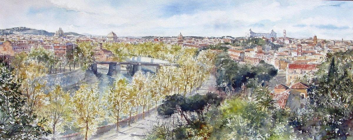 Roma e la campagna romana degli acquerelli di Giampiero Pierini, Roma dal parco Savello